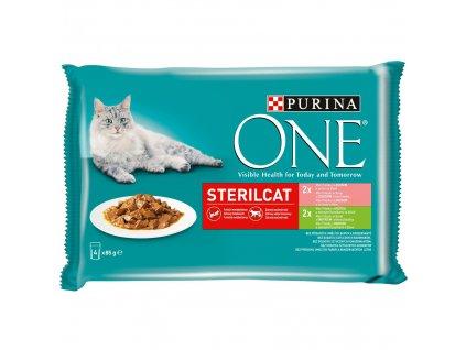 Purina ONE Sterilcat 4 x 85 g kapsa losos s mrkví, krůta s fazolkama ve šťávě