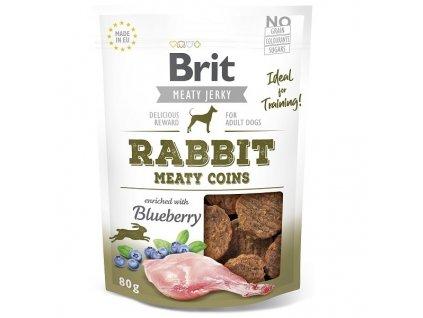 Brit pamlsky Jerky Rabbit Meaty Coins 80 g
