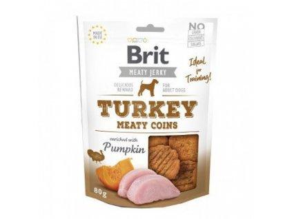 Brit pamlsky Jerky Turkey Meaty Coins 80 g