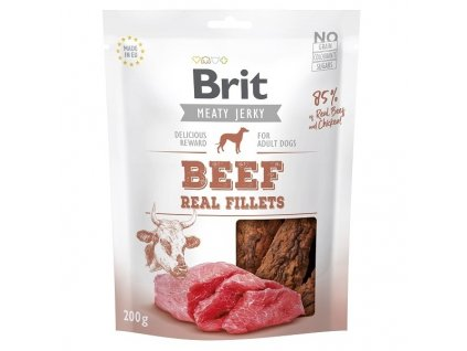 Brit pamlsky Jerky Beef Fillets 200 g
