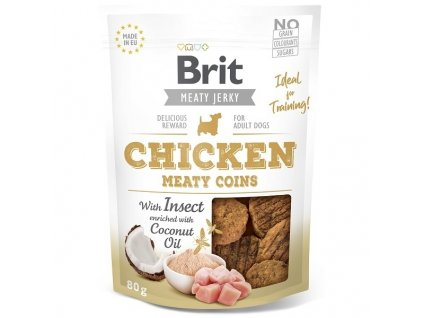 Brit pamlsky Jerky Chicken with Insect Meaty Coins 80 g