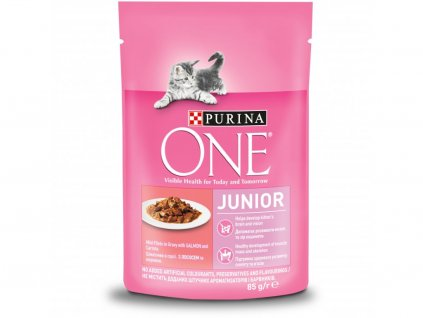 Purina One Junior Mini filetky s lososem a mrkví ve šťávě 85 g
