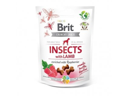 Funkční pamlsky Brit Care Dog Insects with Lamb & Raspberries 200 g