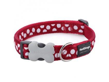 Obojek RED DINGO - White Spots on Red (Velikost 25 mm)