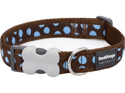 Obojek RED DINGO - Blue Spots on Brown (Velikost 25 mm)