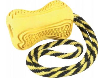 Hračka pes TITAN gumová kost s lanem S žlutá Zolux  + ke každé objednávce náš HAF bag