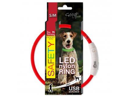 Obojek LED nylonový červený S-M (Barva červená)