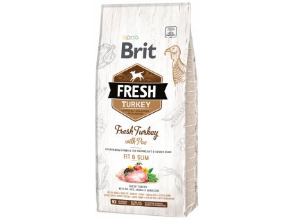 3839 1 brit fresh turkey with pea adult fit slim 12 kg