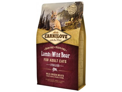 791 1 carnilove cat lamb wild boar for adult cats sterilised 2 kg