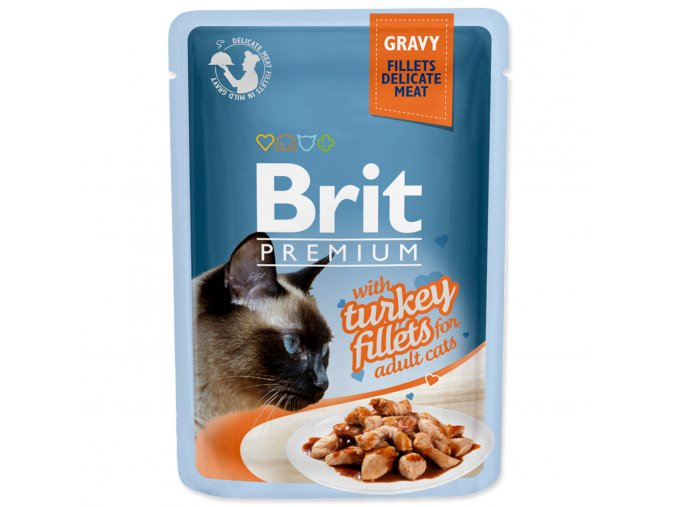 4190 1 brit premium cat pouch with turkey fillets in gravy for adult cats 85 g