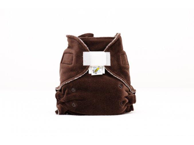 Kalhotková plenka velur TMAVĚ HNEDÁ suchý zip