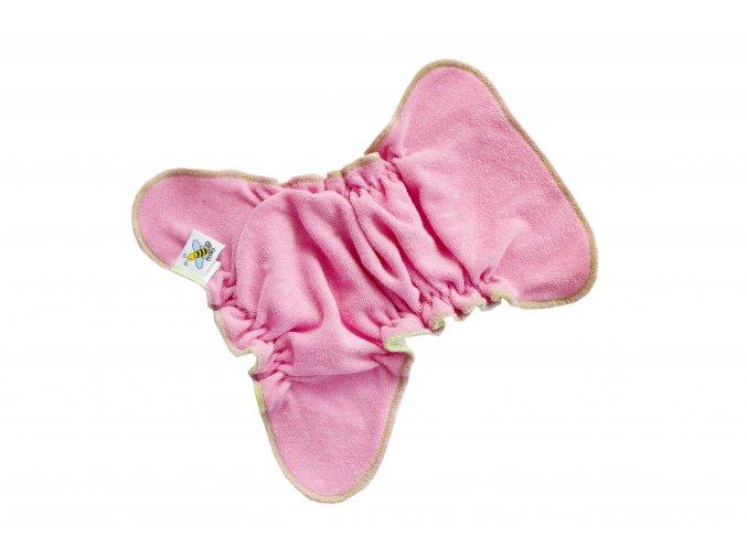 Novorozenecká kalhotková plenka na snappi - Růžová/zelená