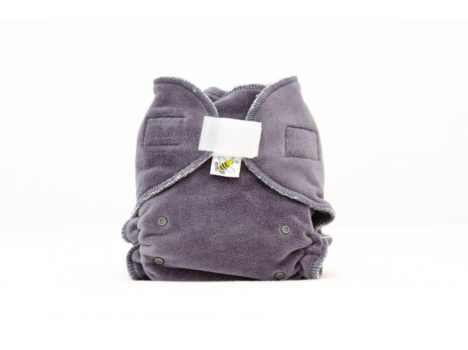 Kalhotková plenka velur ANTRACITOVÁ suchý zip