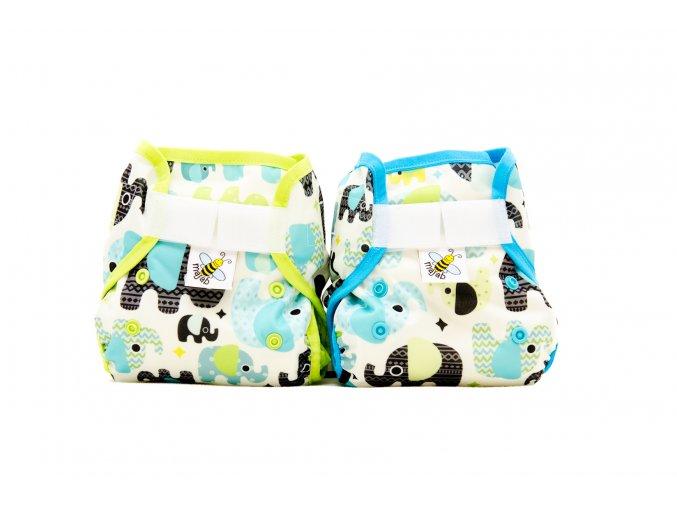 PUL svrchní kalhotky Sloni tyrkysoví MINI (novorozenecké)