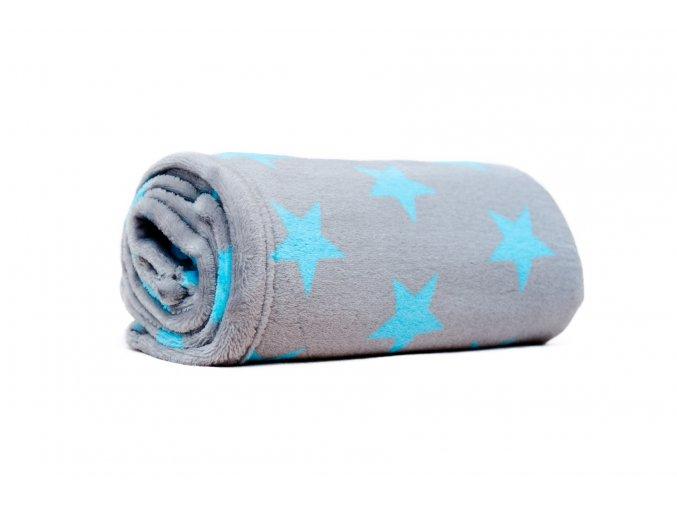 MAJAB Dětská deka Hvězdy modrá/šedá