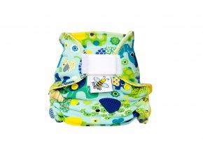 Kalhotková plenka novorozenecká Sloni modří/žlutá suchý zip