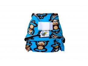 Kalhotková plenka novorozenecká Opičáci na modré suchý zip