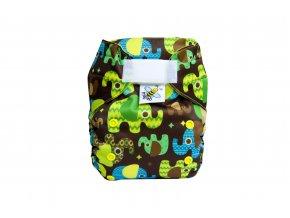 Kapsová plenka AIO - Sloni čokoládoví/žlutá (fleece)