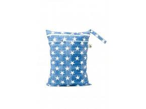 PUL pytel na plenky Hvězdičky na modré (bílý zip) - dvoukomorový