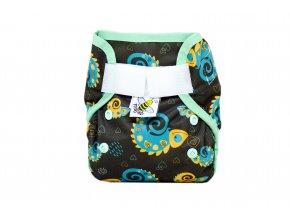 PUL svrchní kalhotky Chameleoni na hnědé novorozenecké (super air PUL)