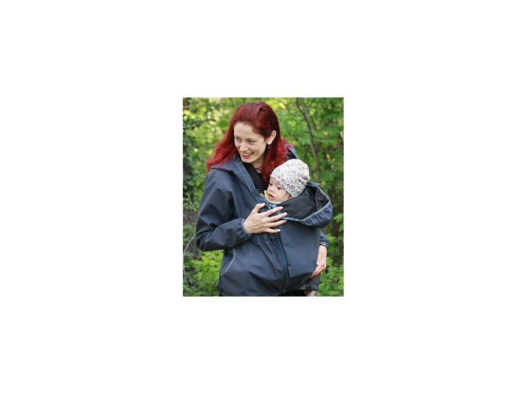 Softshellová těhotenská a nosící větrovka 3v1, tmavě šedá   Adelay