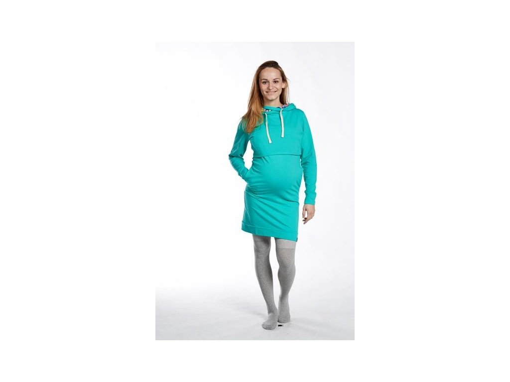 Těhotenské mikinové šaty Elli, tyrkysové