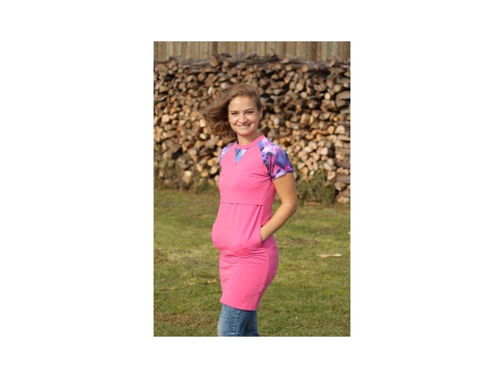 Těhotenské a kojící letní šaty Elli, geo růžové