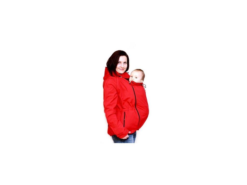 Softshellová nosící a těhotenská bunda 6v1, červená   Adelay