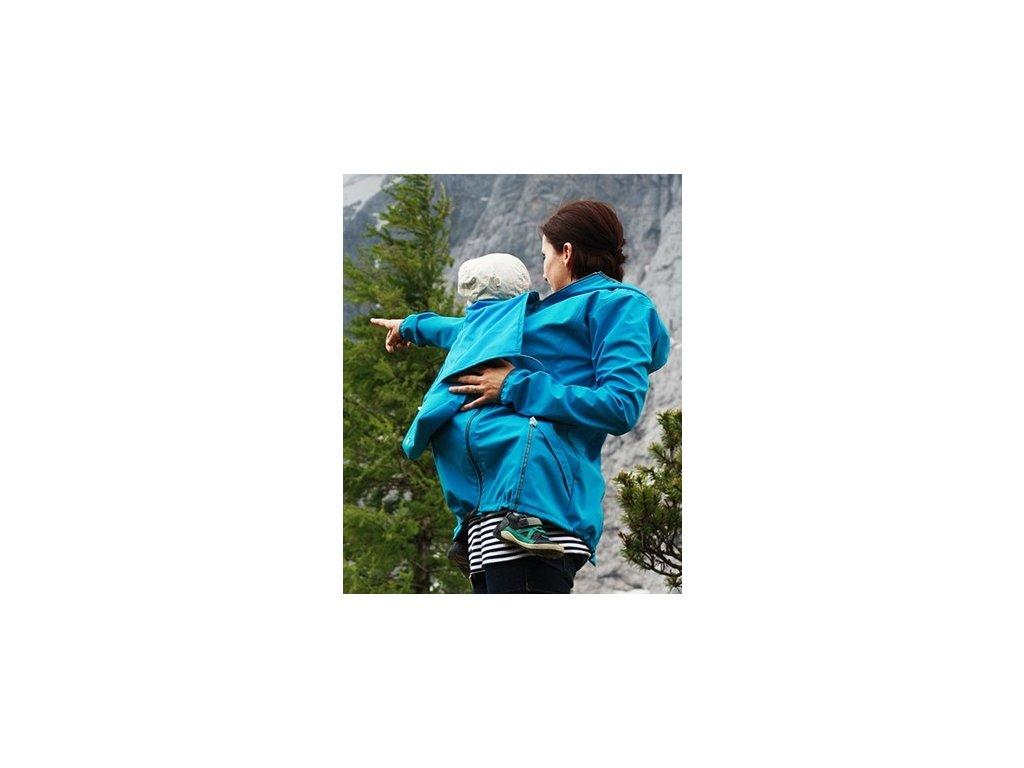 Softshellová těhotenská a nosící větrovka 3v1, tyrkysová | Adelay