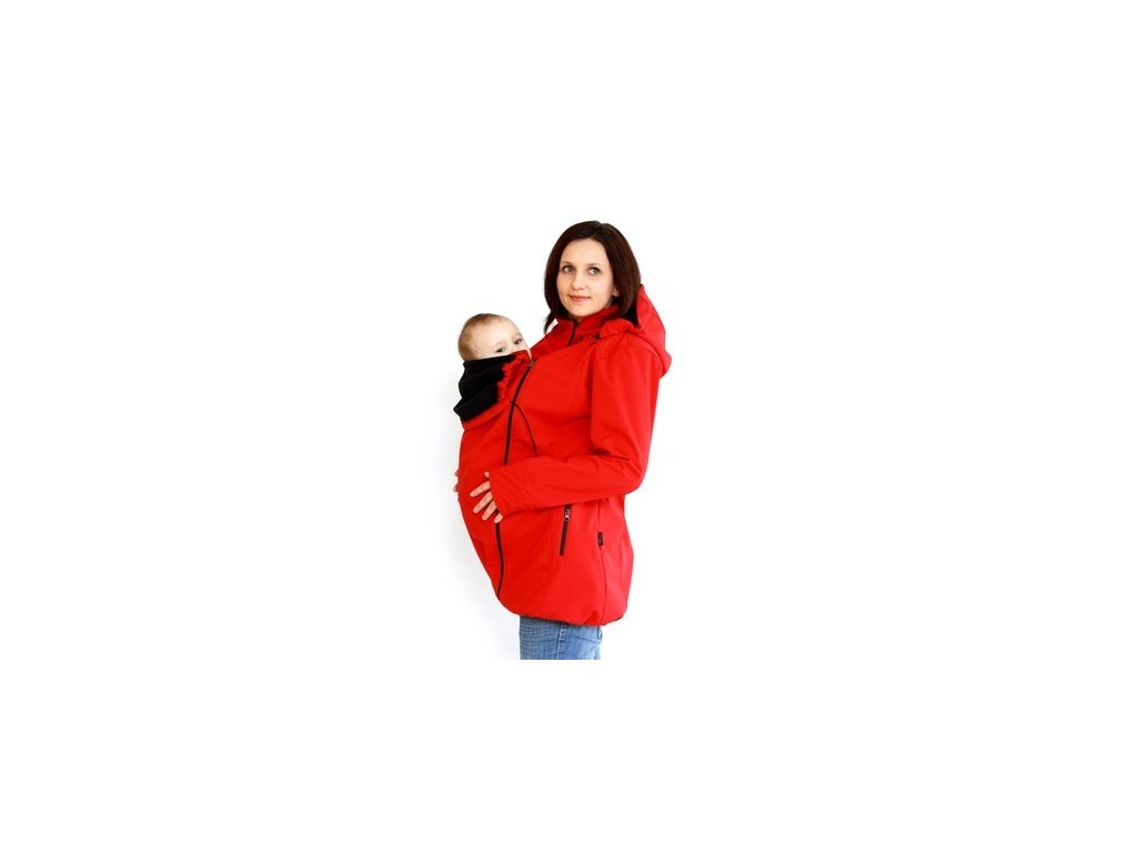 Softshellový nosící a těhotenský kabát 3v1, červený   Adelay
