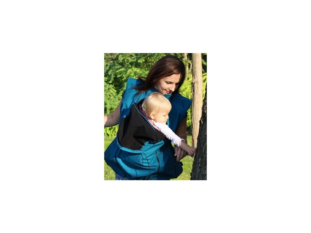 Softshellová nosící a těhotenská bunda 6v1, petrolejová | Adelay