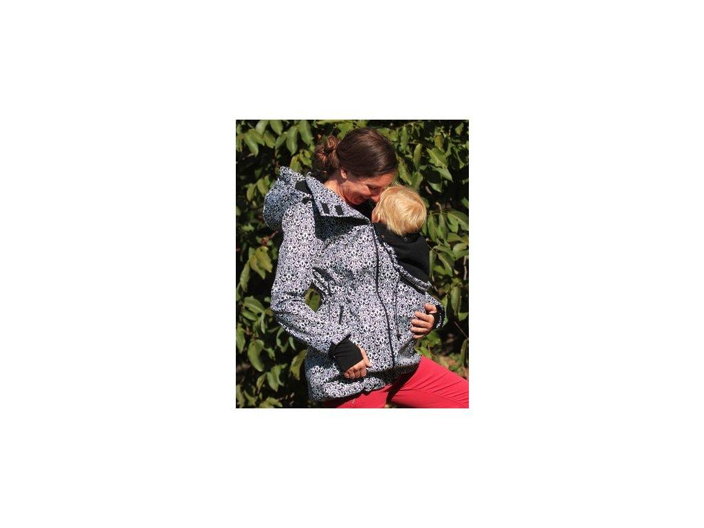 Softshellový nosící a těhotenský kabát 3v1, černobílý vzor   Adelay