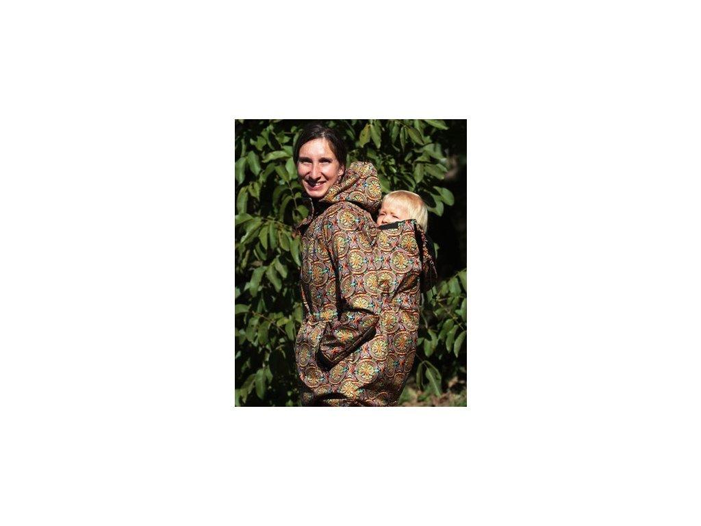 Softshellový nosící a těhotenský kabát 3v1, indi vzor | Adelay