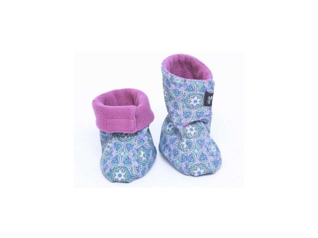 Dětské softshellové botičky, modro-fialové s květinovým vzorem   Adelay