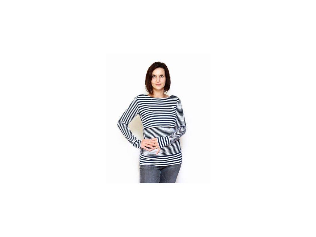 Bambusové kojící tričko s dlouhými rukávy 2v1, námořnické   Adelay