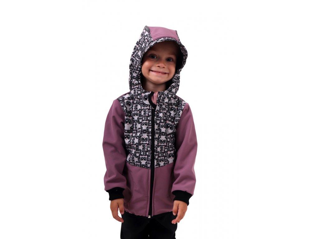 Dětská softshellová bunda, pandy+růžová,