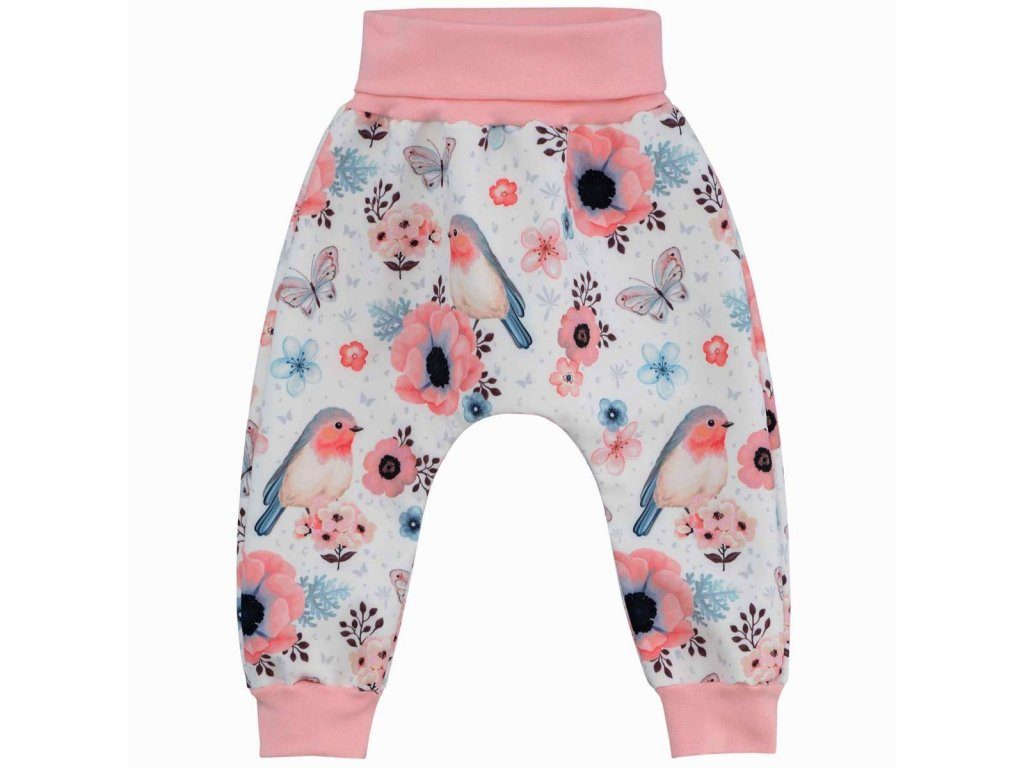 ESITO Dětské softshellové kalhoty Ptáčci vel. 62 - 80 - 80 / růžová ESKALSFTPTC