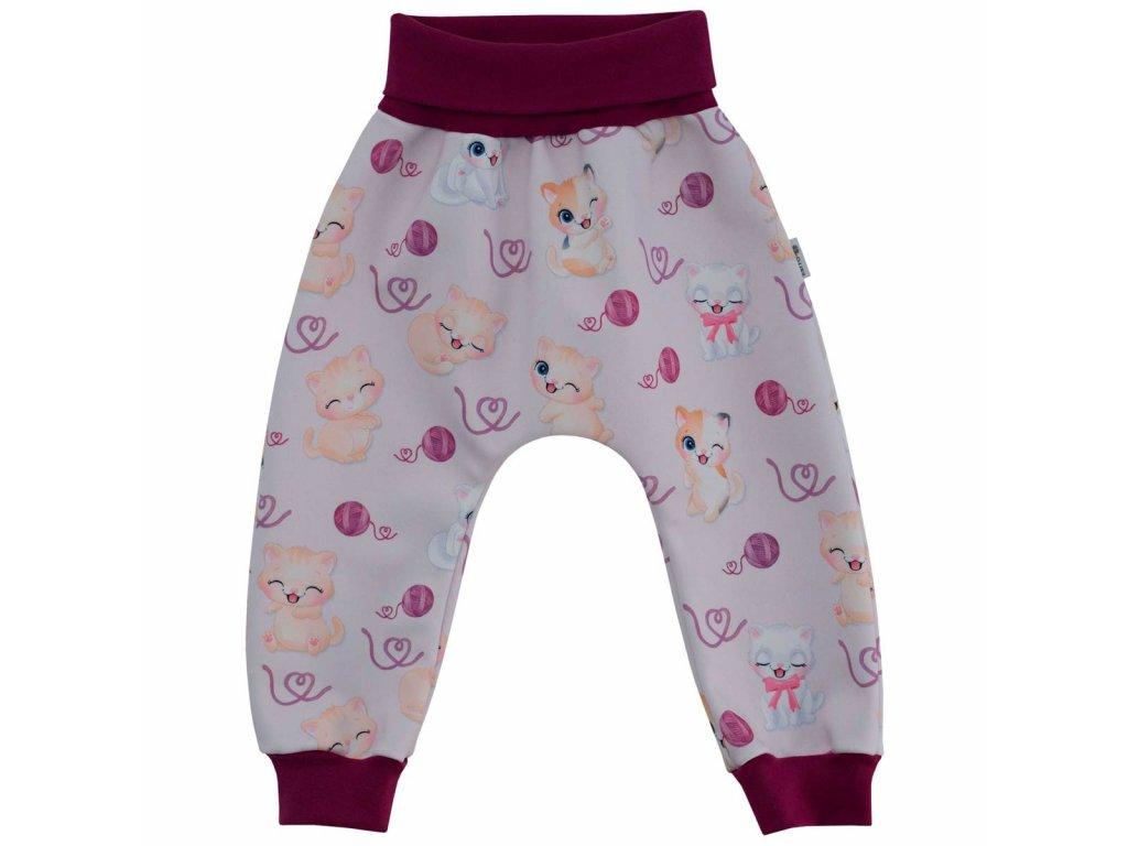 ESITO Dětské softshellové kalhoty Kočičky vel. 62 - 80 - 80 / fialová ESKALSFTKCK