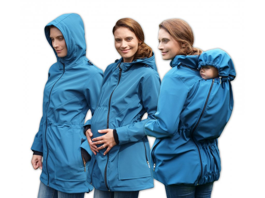 Softshellová těhotenská a nosící bunda Alice 2, tyrkysová