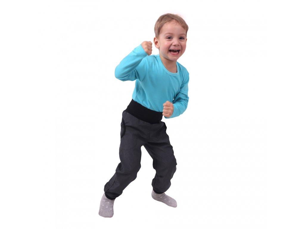 Jarní/letní dětské softshellové kalhoty, šedý melír