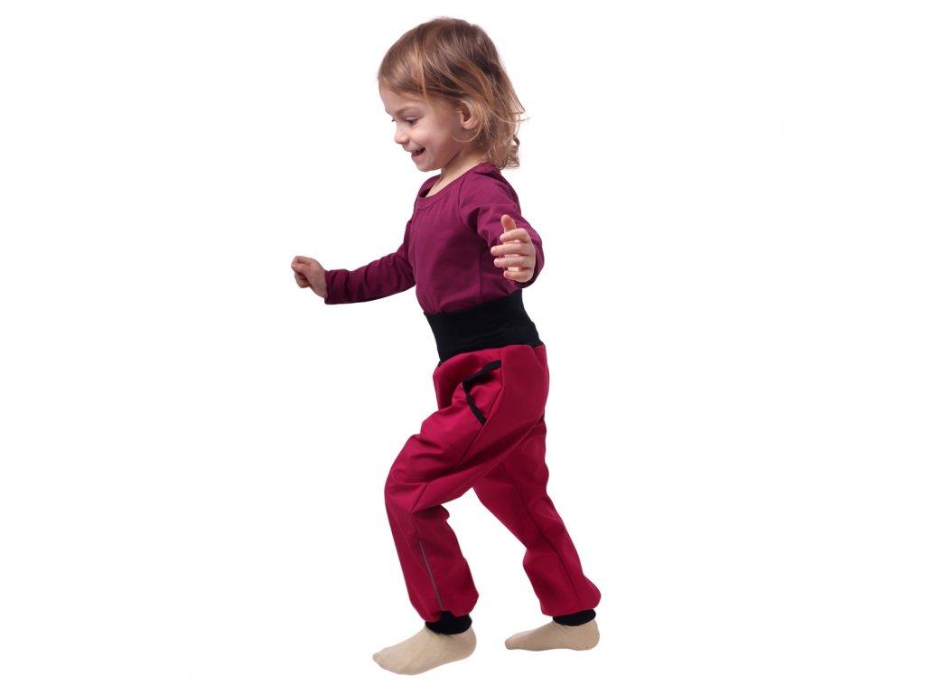Jarní/letní dětské softshellové kalhoty, růžové