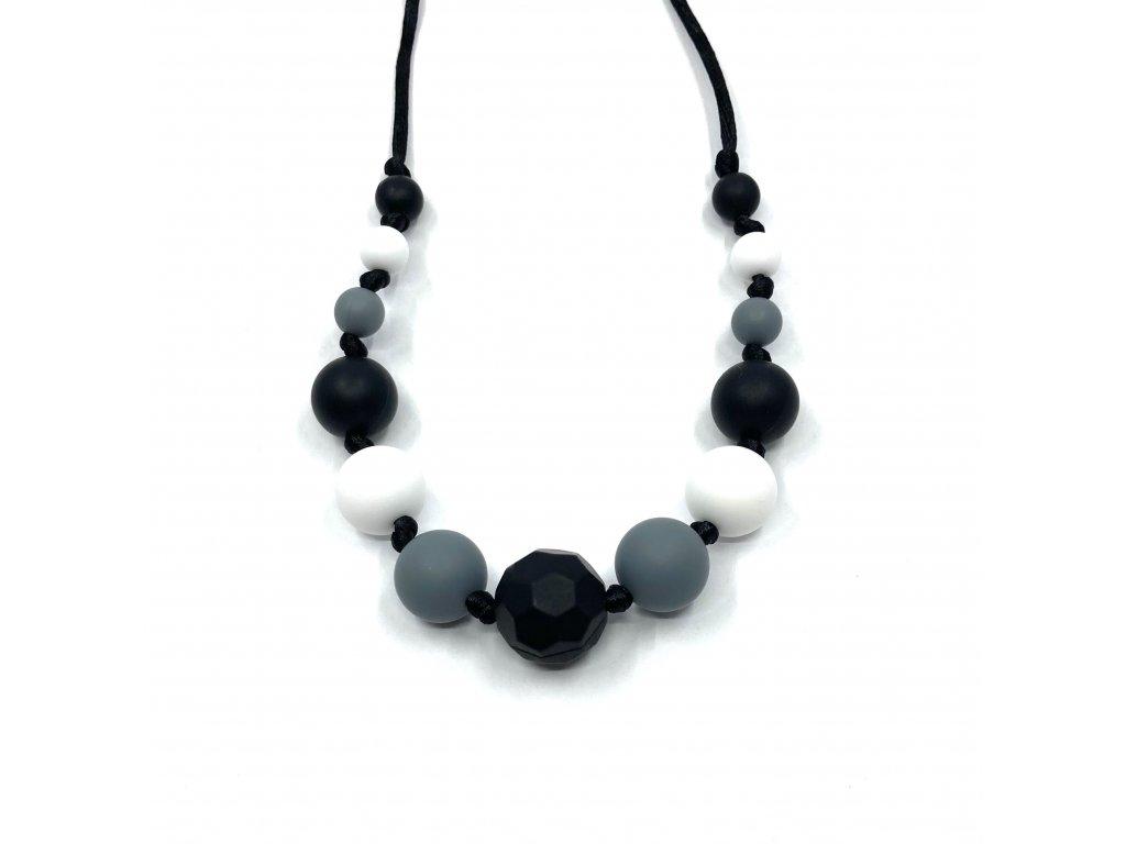 Silikonové korále, Náhrdelník černý zkosený, šedá, bílá