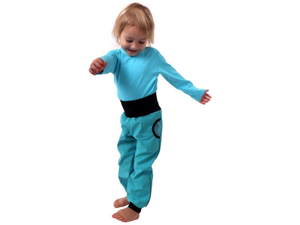 Dětské softshellové kalhoty s náplety a regulací pasu, tyrkysové