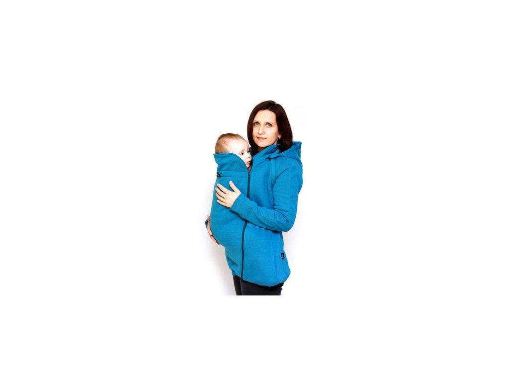 Těhotenská a nosící bavlněná mikina 6v1, modrá | Adelay