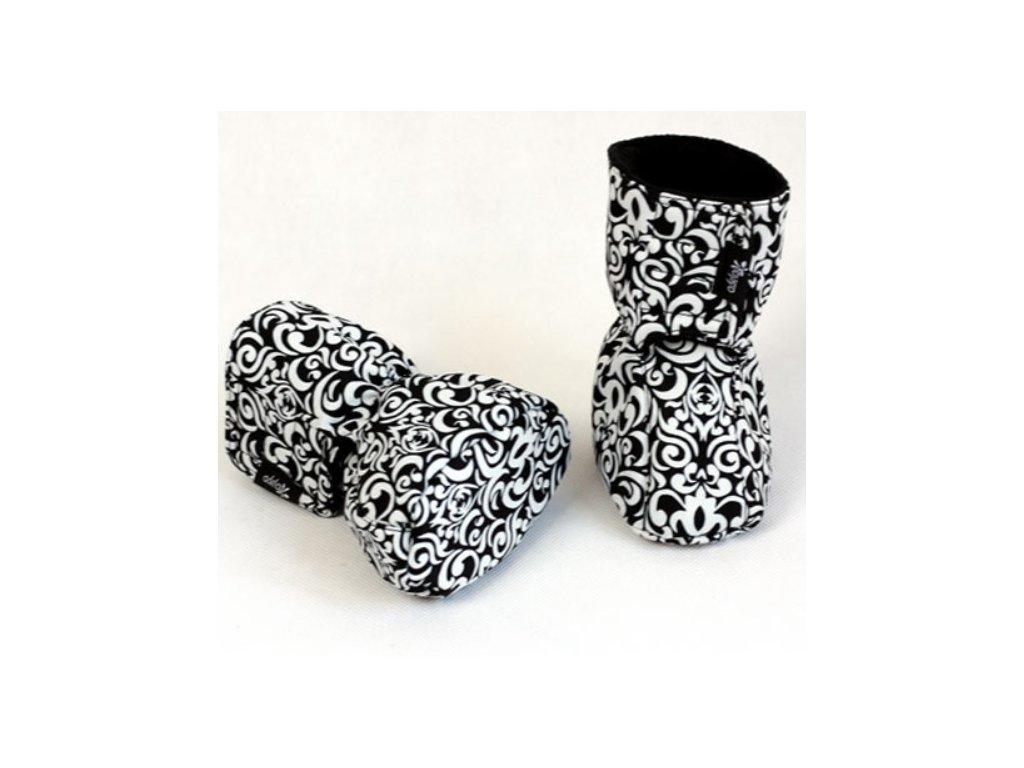 Dětské softshellové botičky, černo-bílé | Adelay