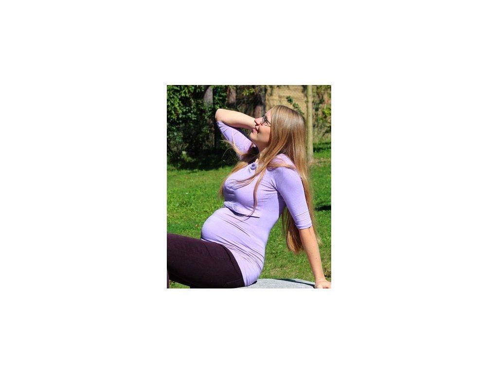 Bambusové kojící tričko s 3/4 rukávem 2v1, světle fialové | Adelay
