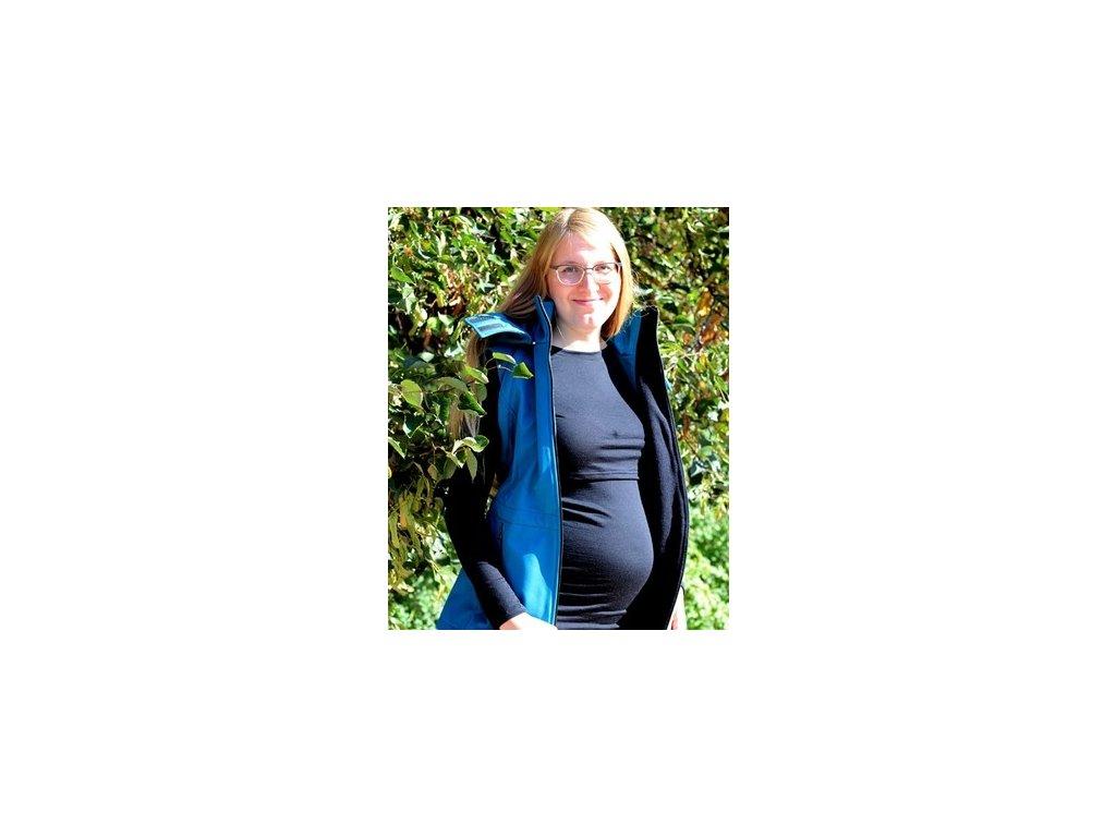 Merino kojící tričko s dlouhými rukávy 2v1, černé | Adelay