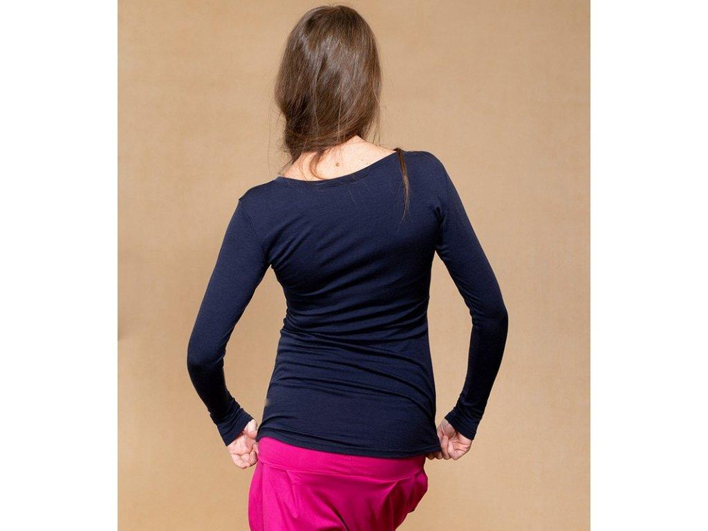 Merino kojící tričko s dlouhými rukávy 2v1, tyrkysové | Adelay