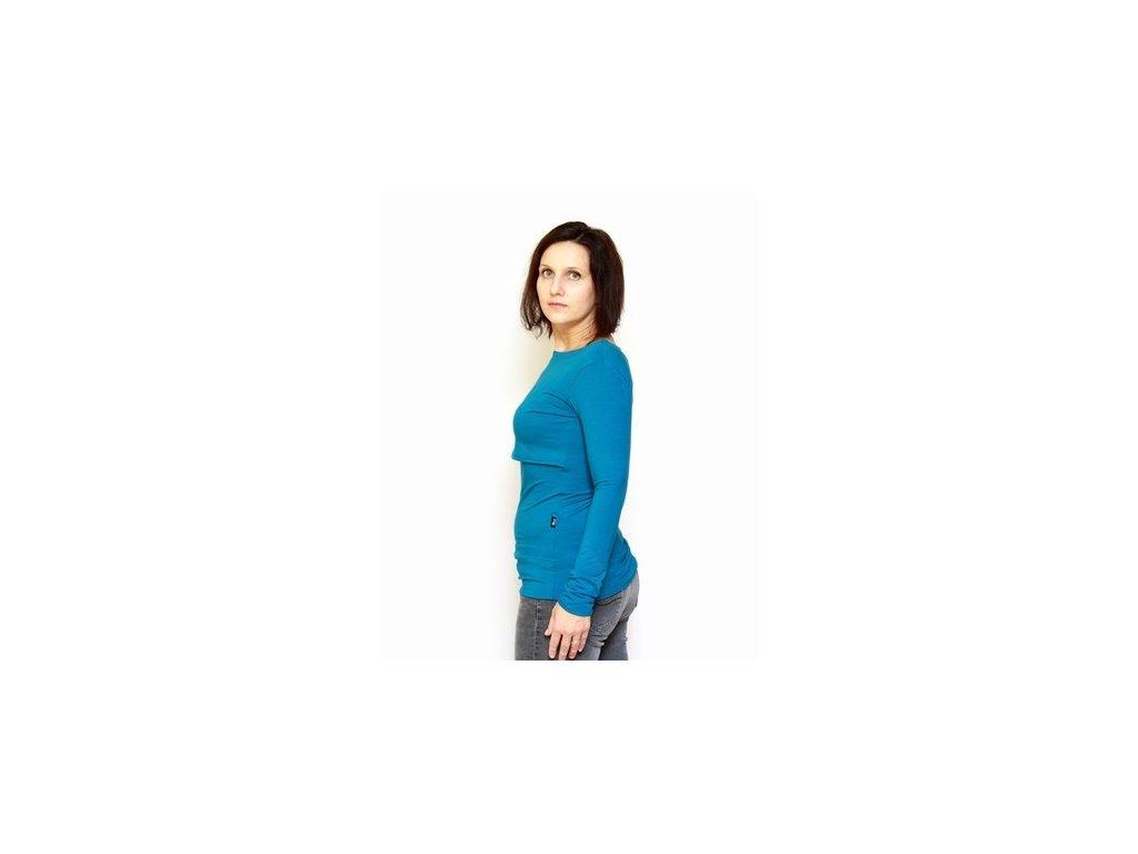 Bambusové kojící tričko s dlouhými rukávy 2v1, modré | Adelay