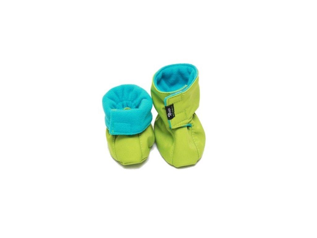 Dětské softshellové botičky, zeleno-tyrkysové   Adelay